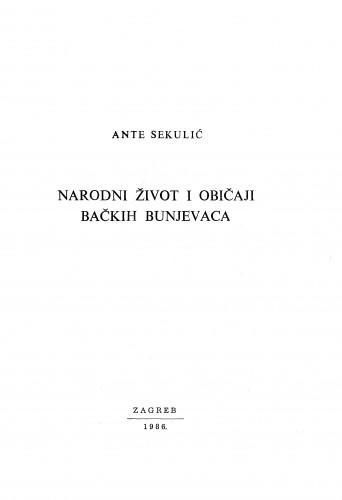 Narodni život i običaji bačkih Hrvata : Zbornik za narodni život i običaje