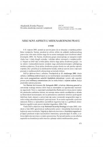 Neki novi aspekti u međunarodnom pravu