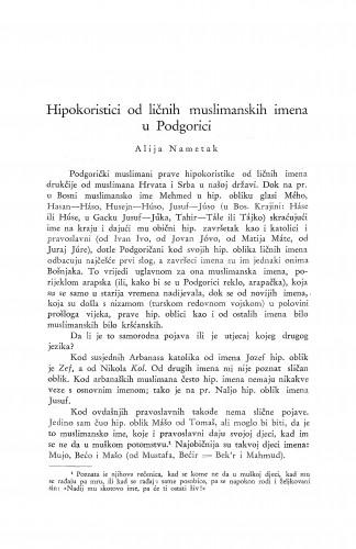 Hipokoristici od ličnih muslimanskih imena u Podgorici / A. Nametak
