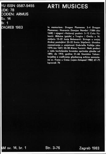 God. 14(1983), br. 1 : Arti musices