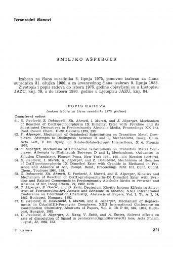 Smiljko Ašperger : [biografije novih članova Akademije]