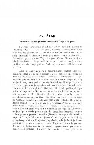 Mineraloško-petrografsko istraživanje Trgovske gore / F. Tućan