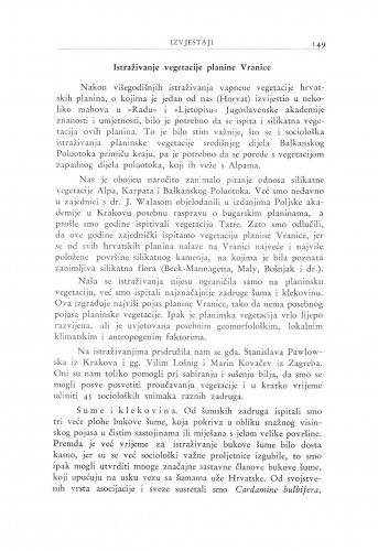 Istraživanje vegetacije planine Vranice / I. Horvat i B. Pawlowski