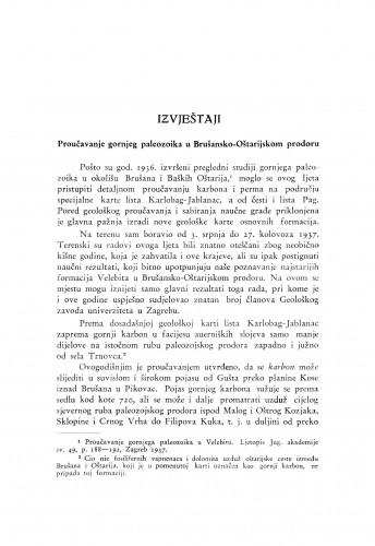 Proučavanje gornjeg paleozoika u Brušansko-Oštarijskom prodoru / M. Salopek