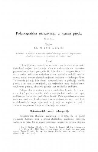Polarografska istraživanja u kemiji pirola