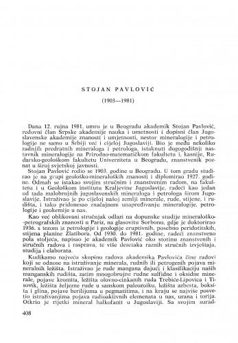 Stojan Pavlović (1903-1981) : [komemoracija i nekrolozi] / I. Jurković