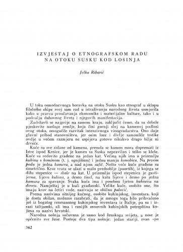 Izvještaj o etnografskom radu na otoku Susku kod Lošinja / J. Ribarić