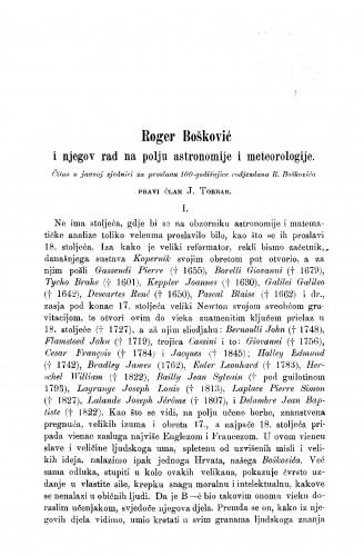 Roger Bošković i njegov rad na polju astronomije i meteorologije : RAD