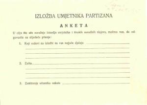 Izložba umjetnika partizana - anketa