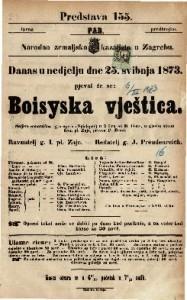 Boisyska vještica Šaljivo-romantična igro-opera (Spieloper) u 3 čina / od E. Coste, u glasbu stavio Ivan pl. Zajc