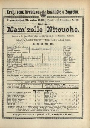 Mam'zelle Nitouche ; Mam'zelle Nitouche Opereta u tri čina (4 slike) ; Opereta u tri čina (četiri slike)  =  Mam'zelle Nitouche