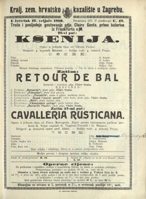 Ksenija ; Retour de bal ; Cavalleria rusticana Opera u jednom činu ; Opera u jednom činu / Prema istoimenoj noveli Giovannia Verge