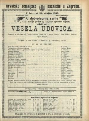 Vesela udovica Opereta u tri čina / prema komediji Henria Meilhaca L'attaché d'ambassade
