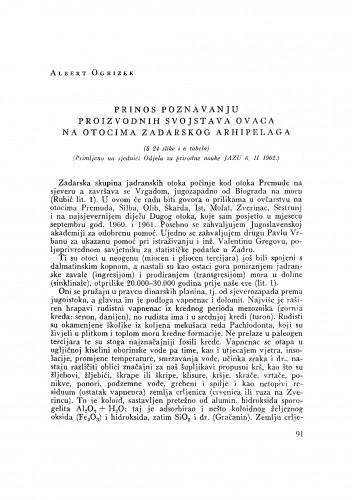 Prinos poznavanju proizvodnih svojstava ovaca na otocima Zadarskog arhipelaga
