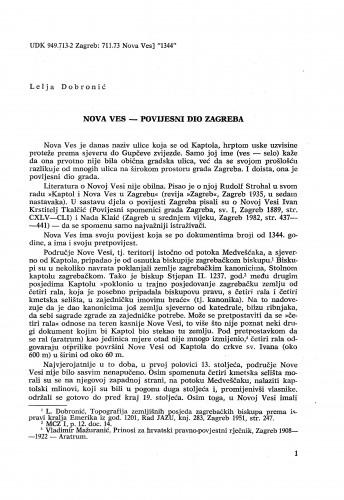 Nova Ves - povijesni dio Zagreba / Lelja Dobronić