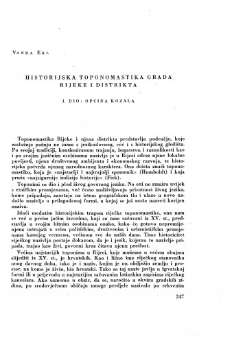Historijska toponomastika grada Rijeke i distrikta : I dio: Općina Kozala / Vanda Ekl
