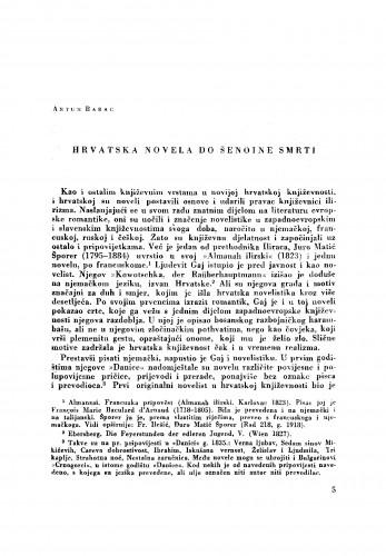 Hrvatska novela do Šenoine smrti