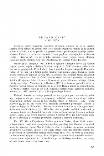 Eduard Čalić (1910.-2003.) : [in memoriam] : Ljetopis