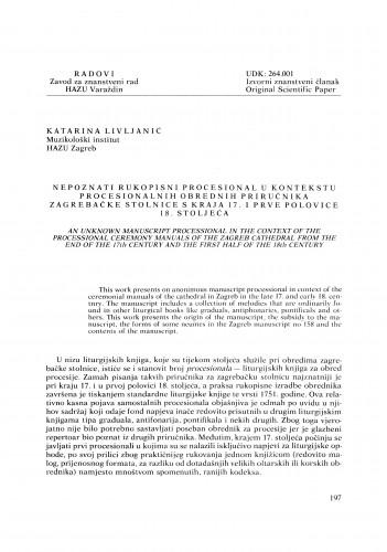 Nepoznati rukopisni procesional u kontekstu procesionalnih obrednih priručnika zagrebačke stolnice s kraja 17. i prve polovice 18. stoljeća : Radovi Zavoda za znanstveni rad Varaždin