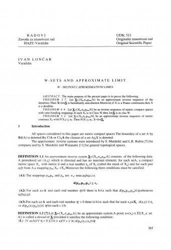 W-sets and approximate limit : Radovi Zavoda za znanstveni rad Varaždin