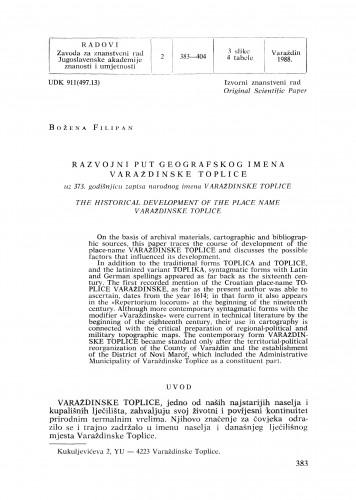 Razvojni put geografskog imena Varaždinske Toplice : uz 373. godišnjicu zapisa narodnog imena Varaždinske Toplice : Radovi Zavoda za znanstveni rad Varaždin