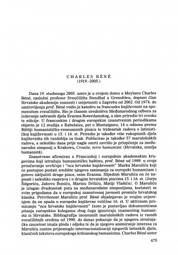 Charles Béné (1919.-2005.) : [nekrolog] : Ljetopis