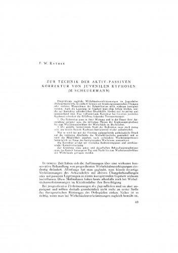 Zur Technic der aktiv-passiven Korrektur von juvenilen Kyphosen (M. Scheuermann)