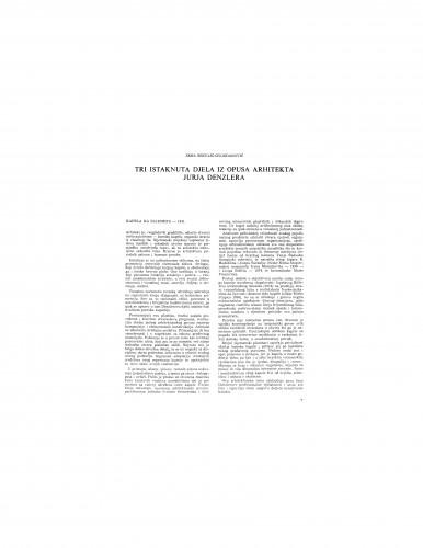 Tri istaknuta djela iz opusa arhitekta Jurja Denzlera