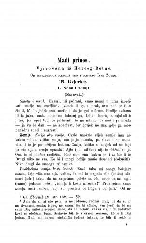 Vjerovańa iz Herceg-Bosne / I. Zovko