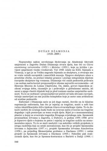 Dušan Džamonja (1928.-2009.) : [nekrolog] : Ljetopis