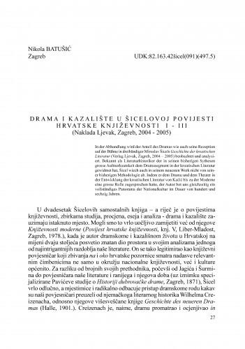 Drama i kazalište u Šicelovoj Povijesti hrvatske književnosti  I - III : Radovi Zavoda za znanstveni rad Varaždin
