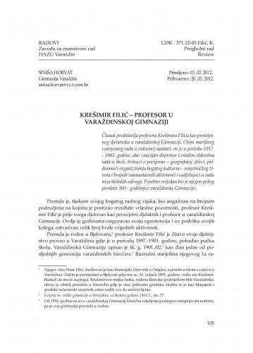 Krešimir Filić - profesor u varaždinskoj Gimnaziji : Radovi Zavoda za znanstveni rad Varaždin