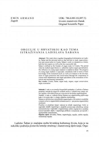Orgulje u Hrvatskoj kao tema istraživanja Ladislava Šabana