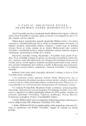 U čast 85. obljetnice života akademika Andre Mohorovičića : Radovi Zavoda za znanstveni rad Varaždin