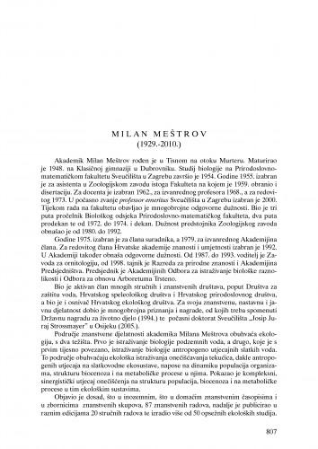 Milan Meštrov (1929.-2010.) : nekrolog : Ljetopis