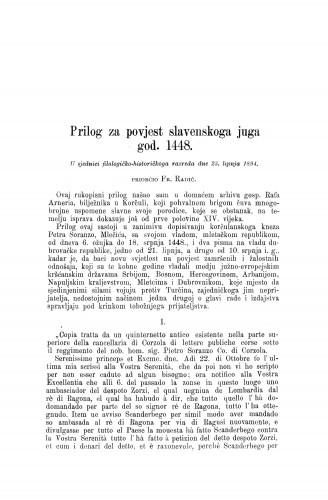 Prilog za povjest slavenskoga juga god. 1448. / Frano Radić