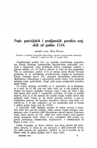 Popis patricijskih i građanskih porodica senjskih od godine 1758. / Mile Magdić