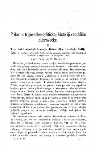 Prilozi k trgovačko-političkoj historiji republike dubrovačke : RAD