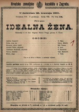 Idealna žena : komedija u tri čina / napisao Marko Praga