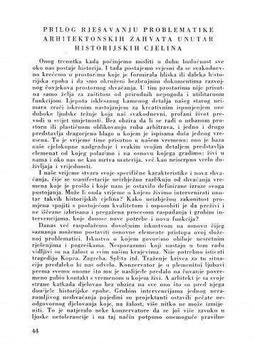 Prilog rješavanja problematike arhitektonskih zahvata unutar historijskih galerija : Bulletin Zavoda za likovne umjetnosti Jugoslavenske akademije znanosti i umjetnosti