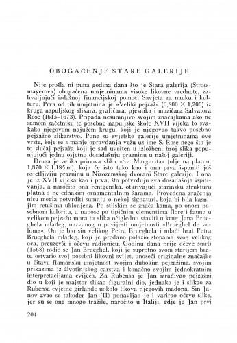 Obogaćenje Stare galerije : Bulletin Odjela VII. za likovne umjetnosti Jugoslavenske akademije znanosti i umjetnosti