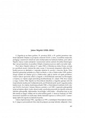 Jakov Stipišić (1920.-2010.) : [in memoriam] : Zbornik Odsjeka za povijesne znanosti Zavoda za povijesne i društvene znanosti Hrvatske akademije znanosti i umjetnosti