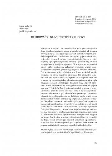 Dubrovački klasicistički krugovi : Adrias : zbornik Zavoda za znanstveni i umjetnički rad Hrvatske akademije znanosti i umjetnosti u Splitu