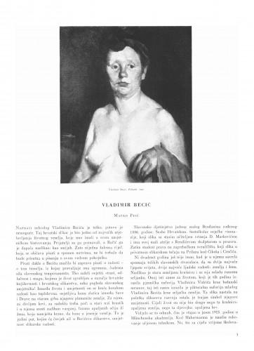 Vladimir Becić : Bulletin Instituta za likovne umjetnosti Jugoslavenske akademije znanosti i umjetnosti