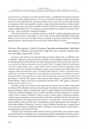 Federicus Chrysogonus = Federik Grisogono, Speculum astronomicum = Astronomsko zrcalo, pr. Mihaela Girardi-Karšulin i Olga Perić; prev. Tomislav Čepulić, Institut za filozofiju, Zagreb 2007. : [prikaz] : Zbornik Odsjeka za povijesne znanosti Zavoda za povijesne i društvene znanosti Hrvatske akademije znanosti i umjetnosti