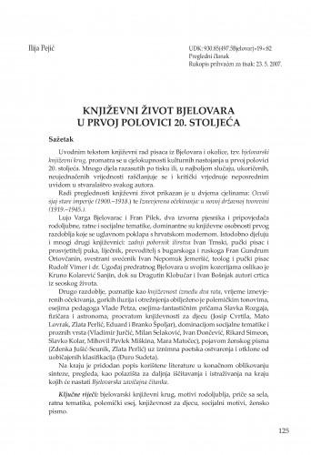 Književni život Bjelovara u prvoj polovici 20. stoljeća : Radovi Zavoda za znanstvenoistraživački i umjetnički rad u Bjelovaru