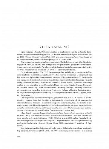 Vjera Katalinić : Ljetopis