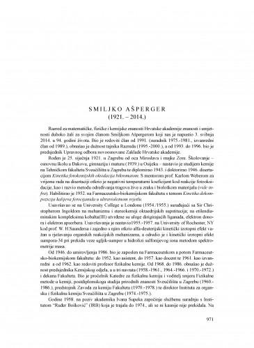 Smiljko Ašperger (1921.-2014.) : [nekrolog] : Ljetopis