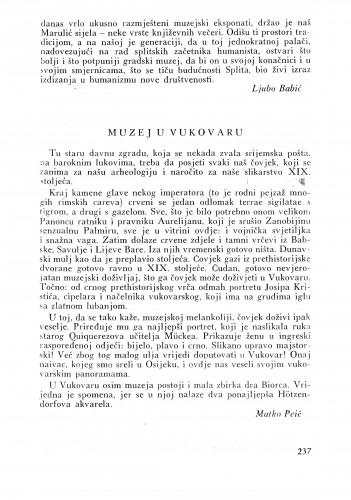 Muzej u Vukovaru : Bulletin Instituta za likovne umjetnosti Jugoslavenske akademije znanosti i umjetnosti