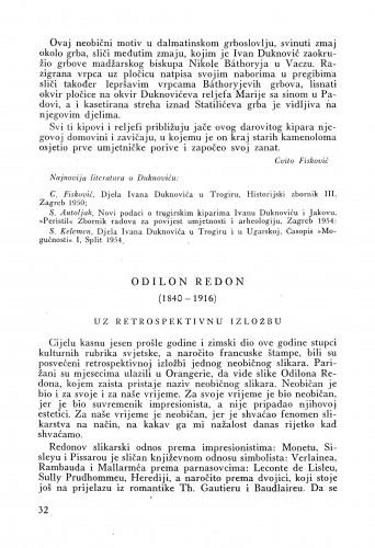 Odilon Redon (1840-1916) : uz retrospektivnu izložbu : Bulletin Instituta za likovne umjetnosti Jugoslavenske akademije znanosti i umjetnosti